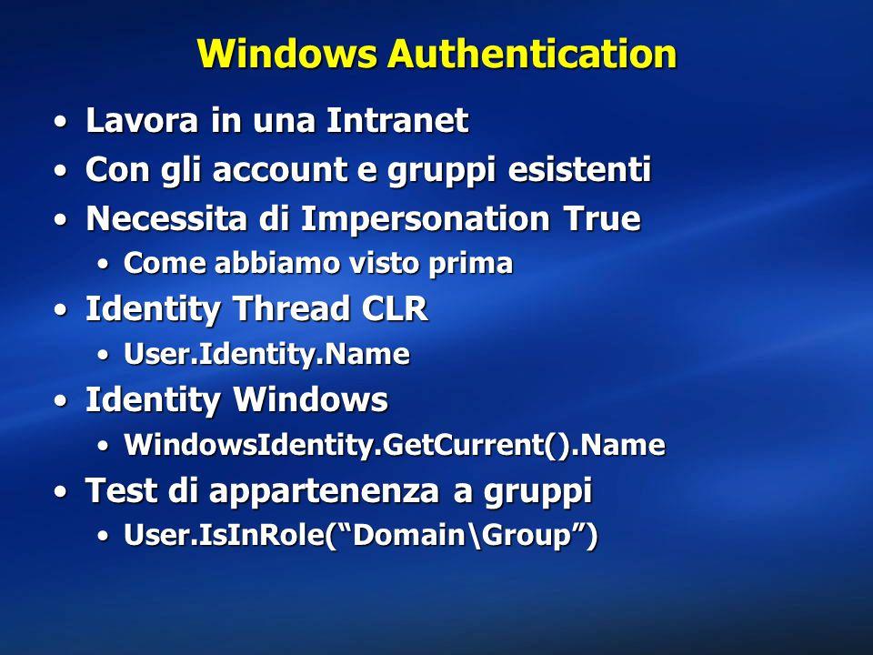 Windows Authentication Lavora in una IntranetLavora in una Intranet Con gli account e gruppi esistentiCon gli account e gruppi esistenti Necessita di