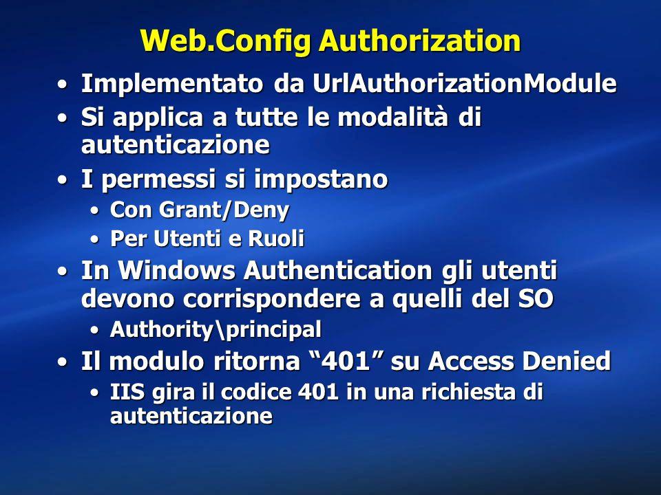 Web.Config Authorization Implementato da UrlAuthorizationModuleImplementato da UrlAuthorizationModule Si applica a tutte le modalità di autenticazioneSi applica a tutte le modalità di autenticazione I permessi si impostanoI permessi si impostano Con Grant/DenyCon Grant/Deny Per Utenti e RuoliPer Utenti e Ruoli In Windows Authentication gli utenti devono corrispondere a quelli del SOIn Windows Authentication gli utenti devono corrispondere a quelli del SO Authority\principalAuthority\principal Il modulo ritorna 401 su Access DeniedIl modulo ritorna 401 su Access Denied IIS gira il codice 401 in una richiesta di autenticazioneIIS gira il codice 401 in una richiesta di autenticazione