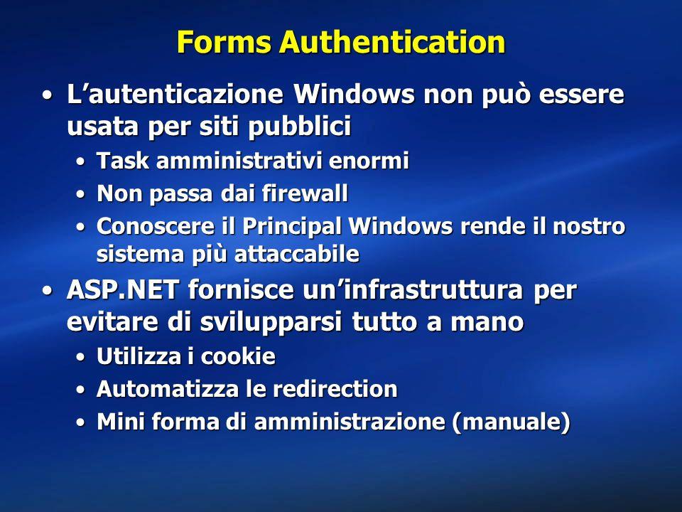 Forms Authentication L'autenticazione Windows non può essere usata per siti pubbliciL'autenticazione Windows non può essere usata per siti pubblici Task amministrativi enormiTask amministrativi enormi Non passa dai firewallNon passa dai firewall Conoscere il Principal Windows rende il nostro sistema più attaccabileConoscere il Principal Windows rende il nostro sistema più attaccabile ASP.NET fornisce un'infrastruttura per evitare di svilupparsi tutto a manoASP.NET fornisce un'infrastruttura per evitare di svilupparsi tutto a mano Utilizza i cookieUtilizza i cookie Automatizza le redirectionAutomatizza le redirection Mini forma di amministrazione (manuale)Mini forma di amministrazione (manuale)