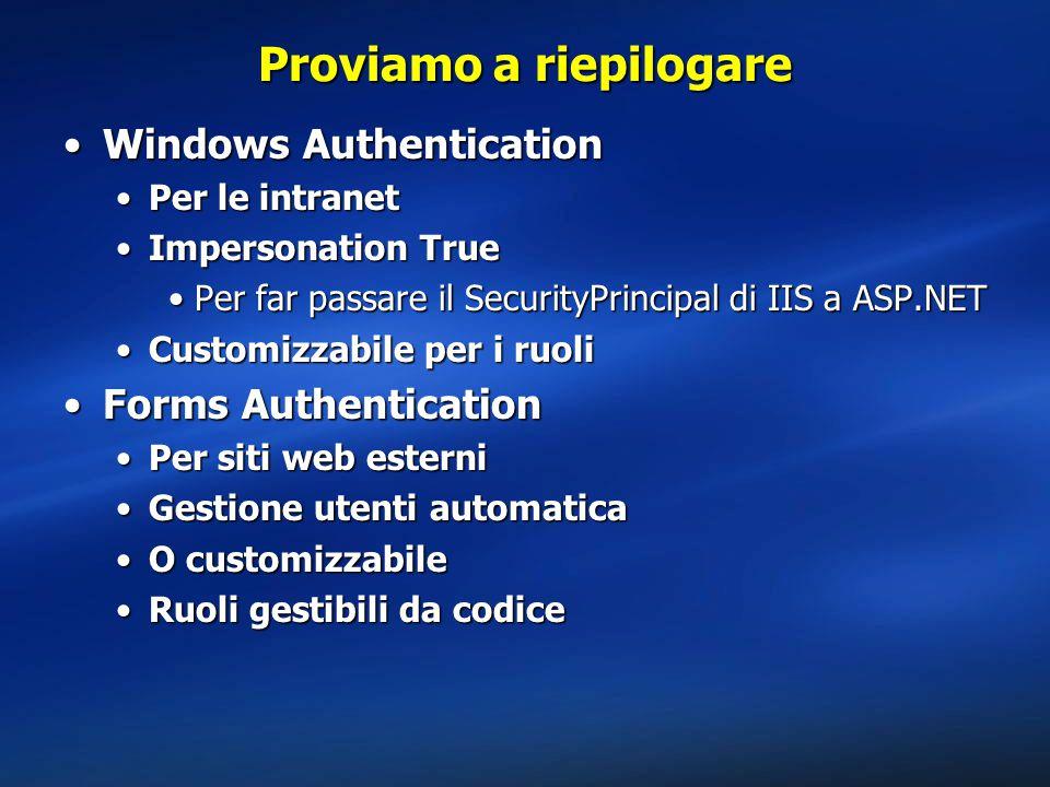 Proviamo a riepilogare Windows AuthenticationWindows Authentication Per le intranetPer le intranet Impersonation TrueImpersonation True Per far passare il SecurityPrincipal di IIS a ASP.NETPer far passare il SecurityPrincipal di IIS a ASP.NET Customizzabile per i ruoliCustomizzabile per i ruoli Forms AuthenticationForms Authentication Per siti web esterniPer siti web esterni Gestione utenti automaticaGestione utenti automatica O customizzabileO customizzabile Ruoli gestibili da codiceRuoli gestibili da codice