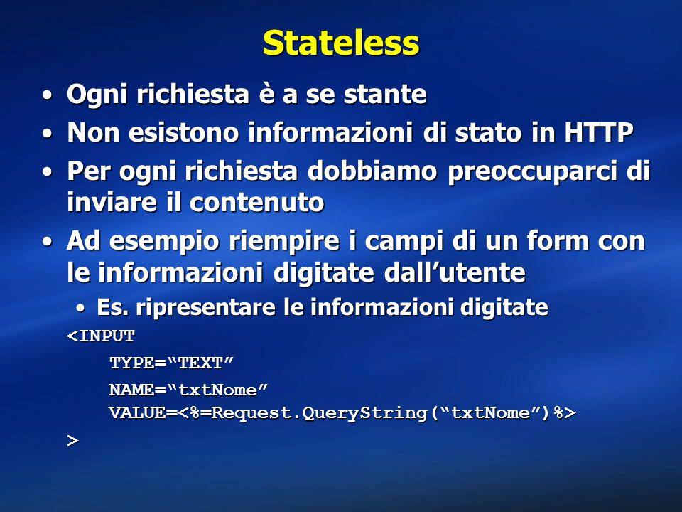 Stateless Ogni richiesta è a se stanteOgni richiesta è a se stante Non esistono informazioni di stato in HTTPNon esistono informazioni di stato in HTT