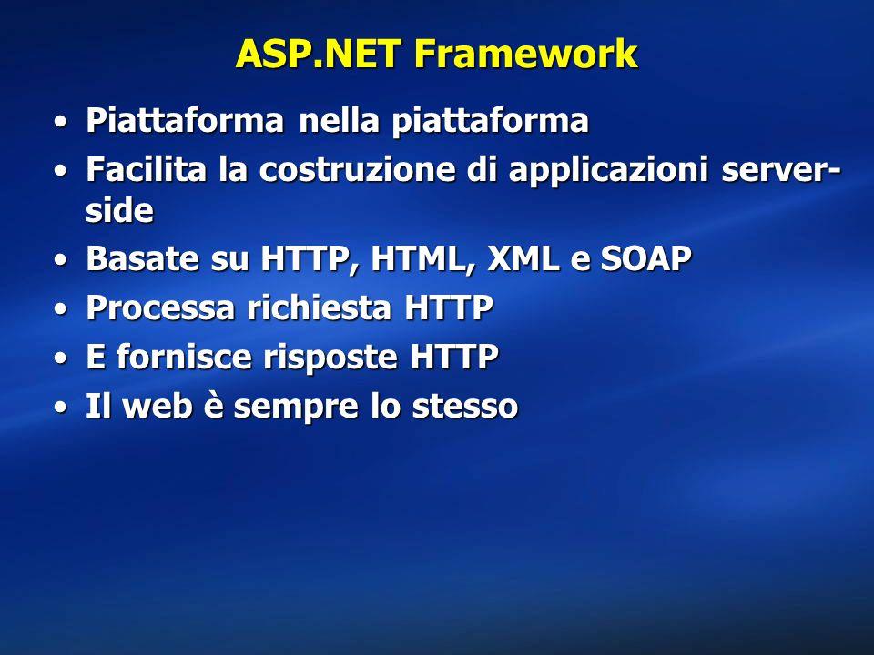 ASP.NET Framework Piattaforma nella piattaformaPiattaforma nella piattaforma Facilita la costruzione di applicazioni server- sideFacilita la costruzione di applicazioni server- side Basate su HTTP, HTML, XML e SOAPBasate su HTTP, HTML, XML e SOAP Processa richiesta HTTPProcessa richiesta HTTP E fornisce risposte HTTPE fornisce risposte HTTP Il web è sempre lo stessoIl web è sempre lo stesso