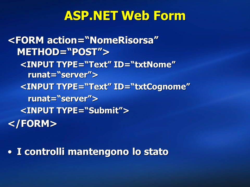 ASP.NET Web Form <INPUT TYPE= Text ID= txtCognome runat= server > </FORM> I controlli mantengono lo statoI controlli mantengono lo stato