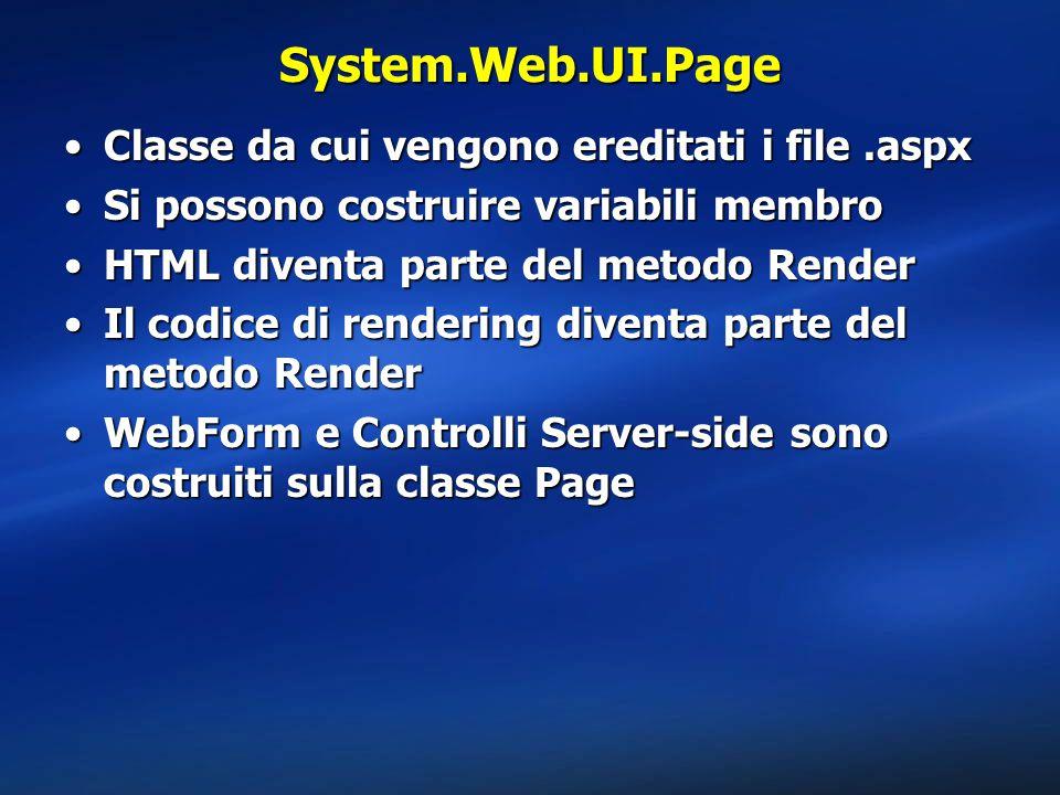 System.Web.UI.Page Classe da cui vengono ereditati i file.aspxClasse da cui vengono ereditati i file.aspx Si possono costruire variabili membroSi possono costruire variabili membro HTML diventa parte del metodo RenderHTML diventa parte del metodo Render Il codice di rendering diventa parte del metodo RenderIl codice di rendering diventa parte del metodo Render WebForm e Controlli Server-side sono costruiti sulla classe PageWebForm e Controlli Server-side sono costruiti sulla classe Page