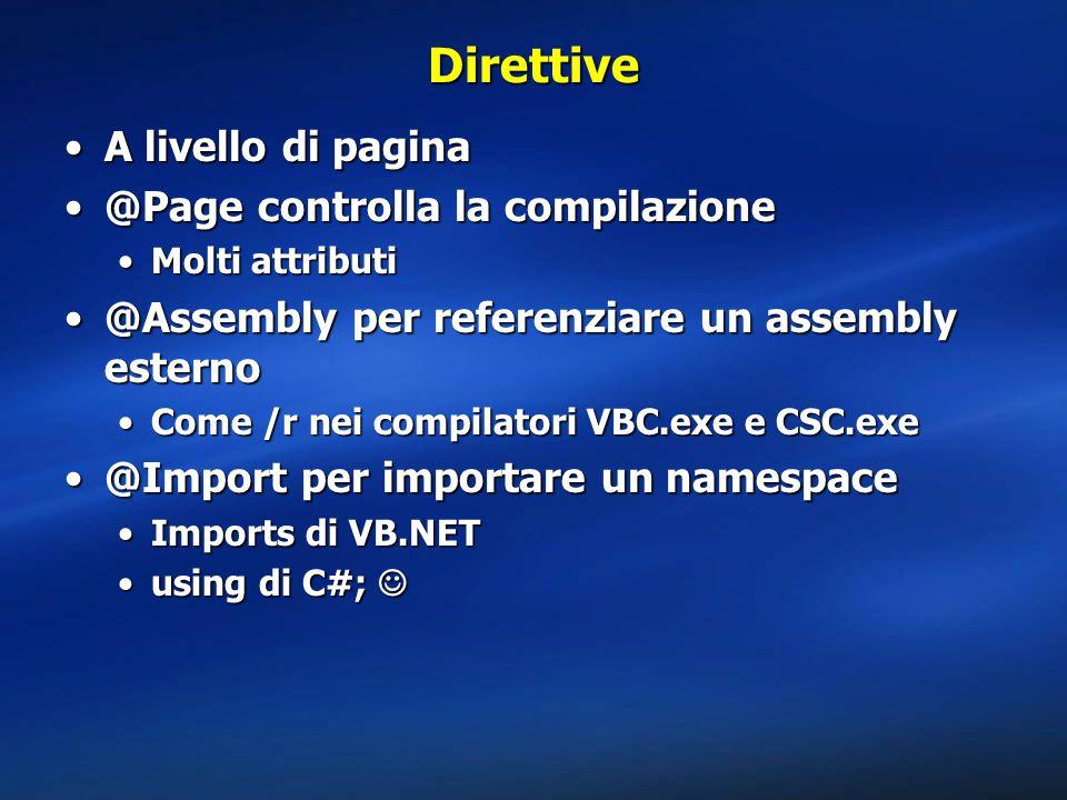 Direttive A livello di paginaA livello di pagina @Page controlla la compilazione@Page controlla la compilazione Molti attributiMolti attributi @Assembly per referenziare un assembly esterno@Assembly per referenziare un assembly esterno Come /r nei compilatori VBC.exe e CSC.exeCome /r nei compilatori VBC.exe e CSC.exe @Import per importare un namespace@Import per importare un namespace Imports di VB.NETImports di VB.NET using di C#;using di C#;
