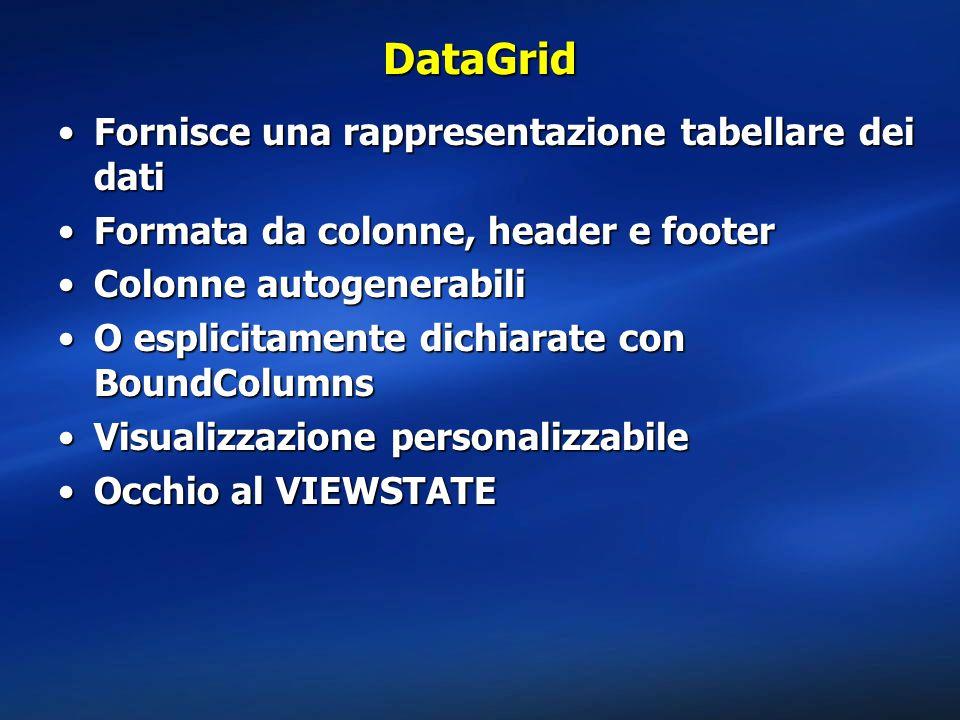 DataGrid Fornisce una rappresentazione tabellare dei datiFornisce una rappresentazione tabellare dei dati Formata da colonne, header e footerFormata d