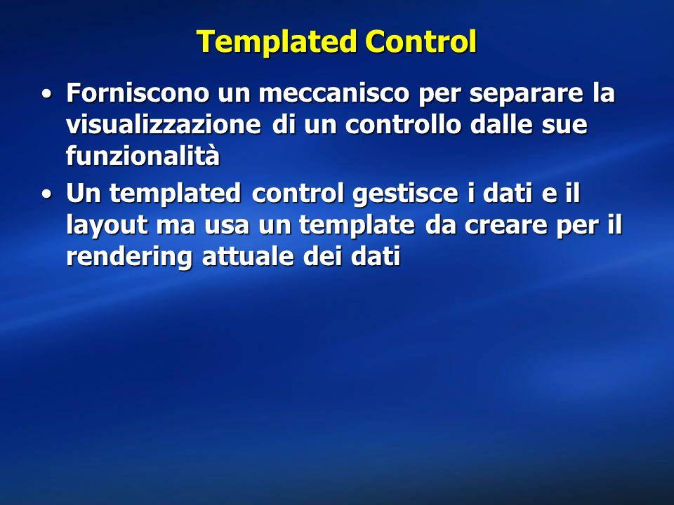 Templated Control Forniscono un meccanisco per separare la visualizzazione di un controllo dalle sue funzionalitàForniscono un meccanisco per separare la visualizzazione di un controllo dalle sue funzionalità Un templated control gestisce i dati e il layout ma usa un template da creare per il rendering attuale dei datiUn templated control gestisce i dati e il layout ma usa un template da creare per il rendering attuale dei dati