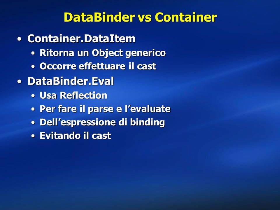 DataBinder vs Container Container.DataItemContainer.DataItem Ritorna un Object genericoRitorna un Object generico Occorre effettuare il castOccorre effettuare il cast DataBinder.EvalDataBinder.Eval Usa ReflectionUsa Reflection Per fare il parse e l'evaluatePer fare il parse e l'evaluate Dell'espressione di bindingDell'espressione di binding Evitando il castEvitando il cast