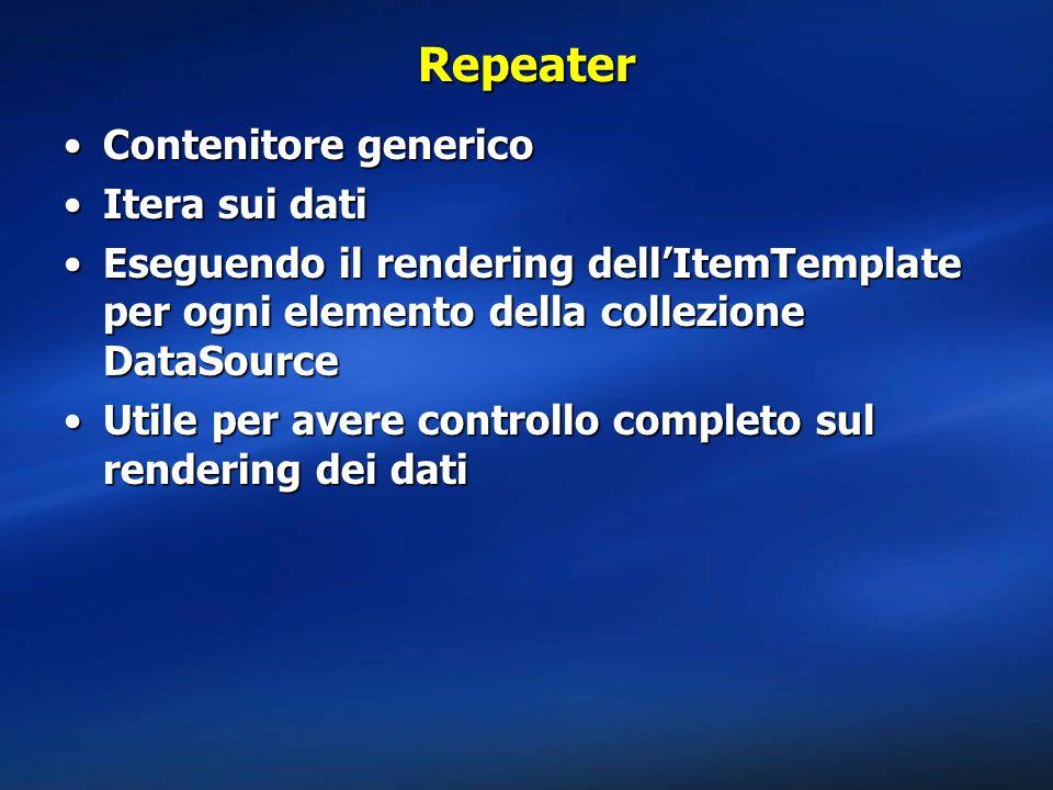Repeater Contenitore genericoContenitore generico Itera sui datiItera sui dati Eseguendo il rendering dell'ItemTemplate per ogni elemento della collezione DataSourceEseguendo il rendering dell'ItemTemplate per ogni elemento della collezione DataSource Utile per avere controllo completo sul rendering dei datiUtile per avere controllo completo sul rendering dei dati