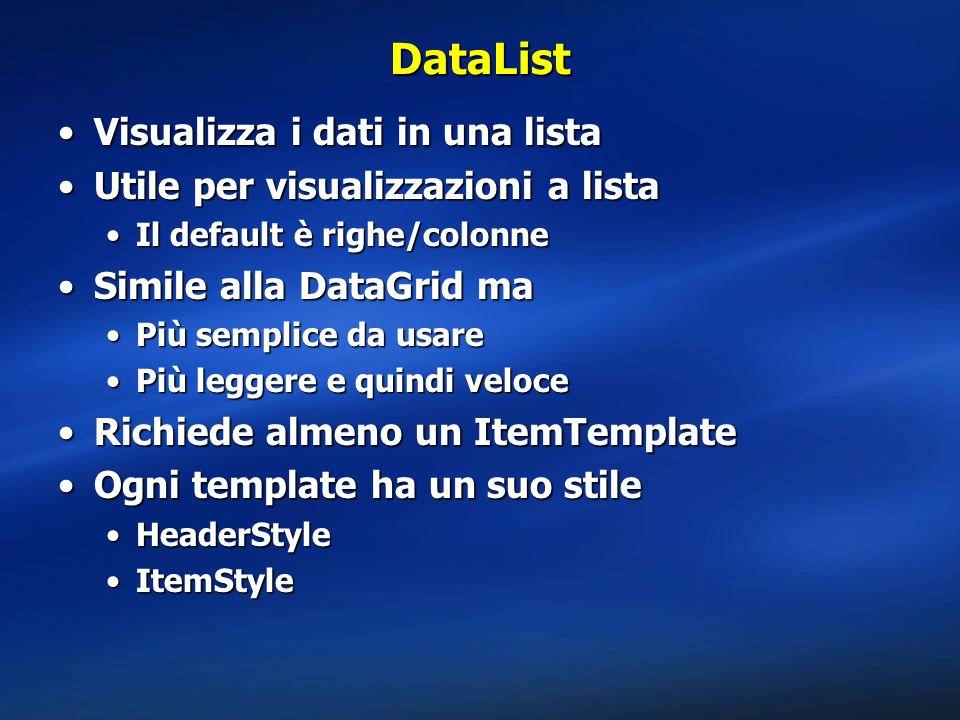 DataList Visualizza i dati in una listaVisualizza i dati in una lista Utile per visualizzazioni a listaUtile per visualizzazioni a lista Il default è