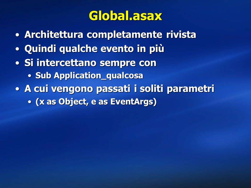 Global.asax Architettura completamente rivistaArchitettura completamente rivista Quindi qualche evento in piùQuindi qualche evento in più Si intercett