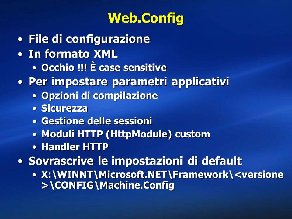 Web.Config File di configurazioneFile di configurazione In formato XMLIn formato XML Occhio !!! È case sensitiveOcchio !!! È case sensitive Per impost