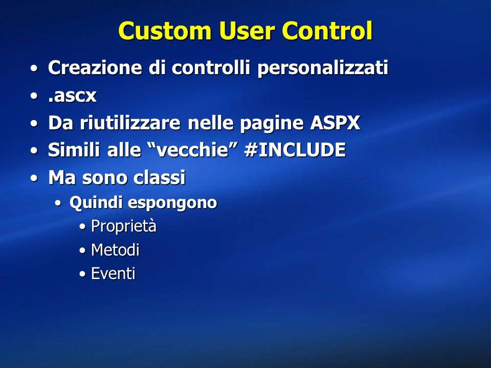 Custom User Control Creazione di controlli personalizzatiCreazione di controlli personalizzati.ascx.ascx Da riutilizzare nelle pagine ASPXDa riutilizzare nelle pagine ASPX Simili alle vecchie #INCLUDESimili alle vecchie #INCLUDE Ma sono classiMa sono classi Quindi espongonoQuindi espongono ProprietàProprietà MetodiMetodi EventiEventi