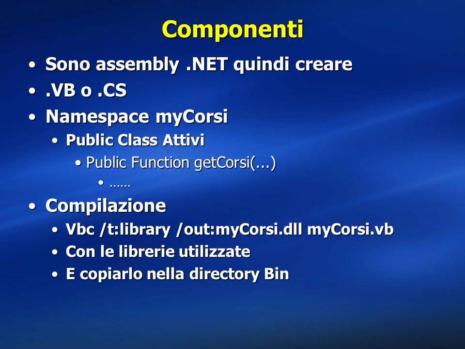 Componenti Sono assembly.NET quindi creareSono assembly.NET quindi creare.VB o.CS.VB o.CS Namespace myCorsiNamespace myCorsi Public Class AttiviPublic Class Attivi Public Function getCorsi(...)Public Function getCorsi(...) ………… CompilazioneCompilazione Vbc /t:library /out:myCorsi.dll myCorsi.vbVbc /t:library /out:myCorsi.dll myCorsi.vb Con le librerie utilizzateCon le librerie utilizzate E copiarlo nella directory BinE copiarlo nella directory Bin