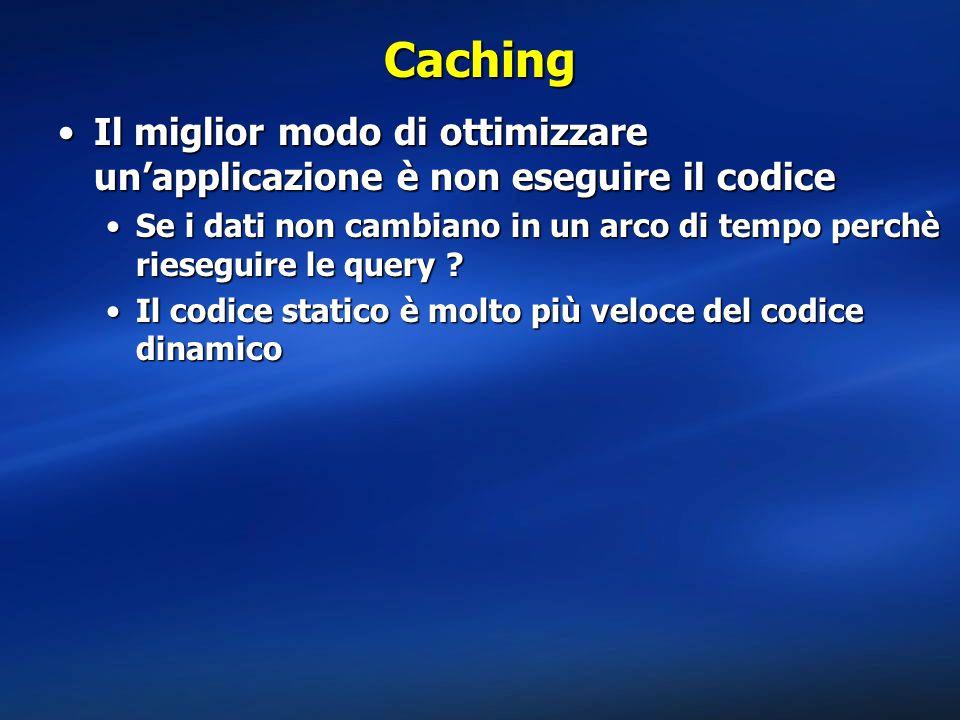 Caching Il miglior modo di ottimizzare un'applicazione è non eseguire il codiceIl miglior modo di ottimizzare un'applicazione è non eseguire il codice