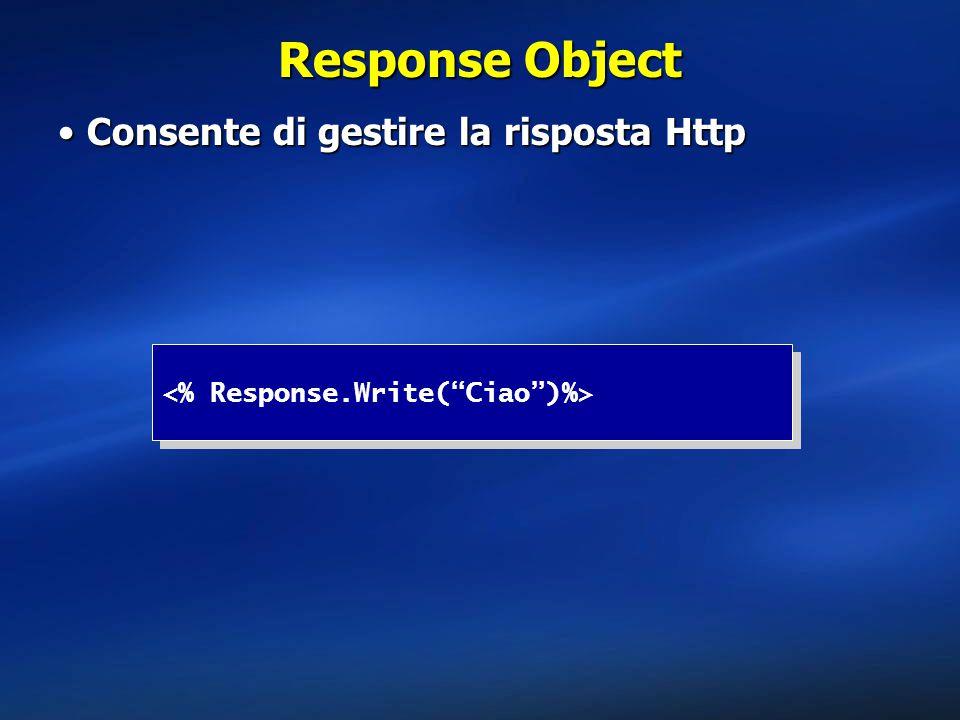 Response Object Consente di gestire la risposta HttpConsente di gestire la risposta Http