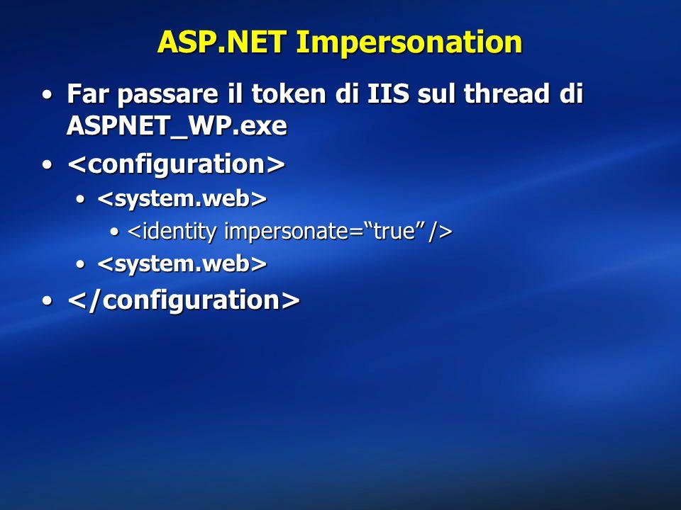 ASP.NET Impersonation Far passare il token di IIS sul thread di ASPNET_WP.exeFar passare il token di IIS sul thread di ASPNET_WP.exe