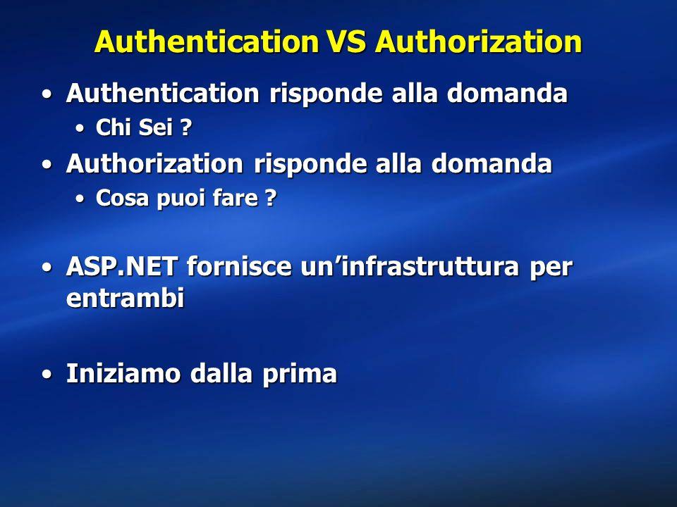 Authentication VS Authorization Authentication risponde alla domandaAuthentication risponde alla domanda Chi Sei ?Chi Sei ? Authorization risponde all