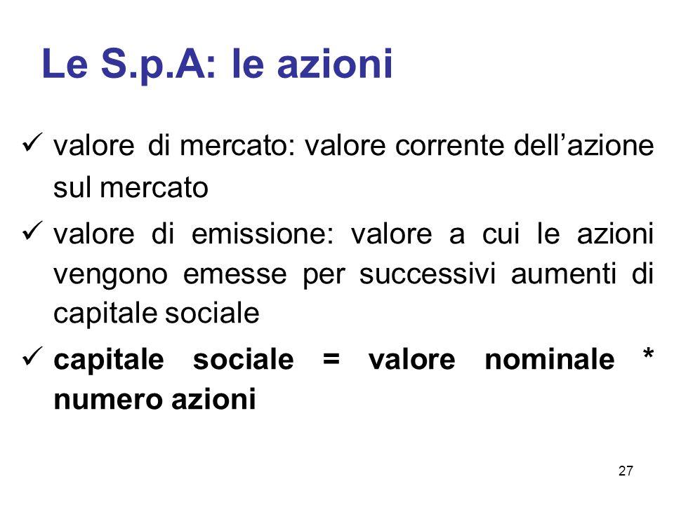 Le S.p.A: le azioni valore di mercato: valore corrente dell'azione sul mercato valore di emissione: valore a cui le azioni vengono emesse per successivi aumenti di capitale sociale capitale sociale = valore nominale * numero azioni 27