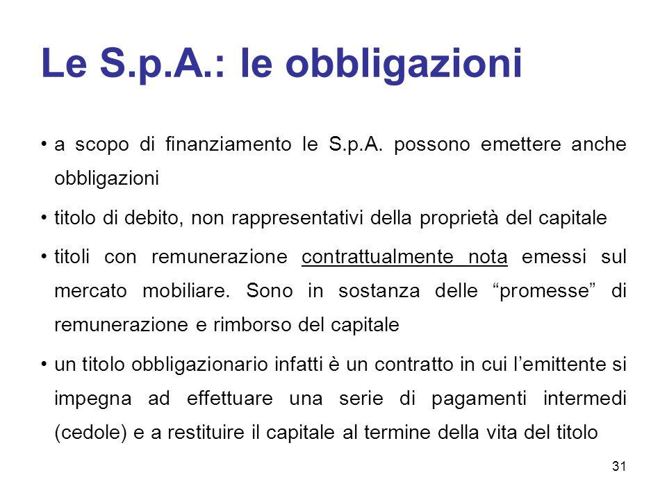 Le S.p.A.: le obbligazioni a scopo di finanziamento le S.p.A.