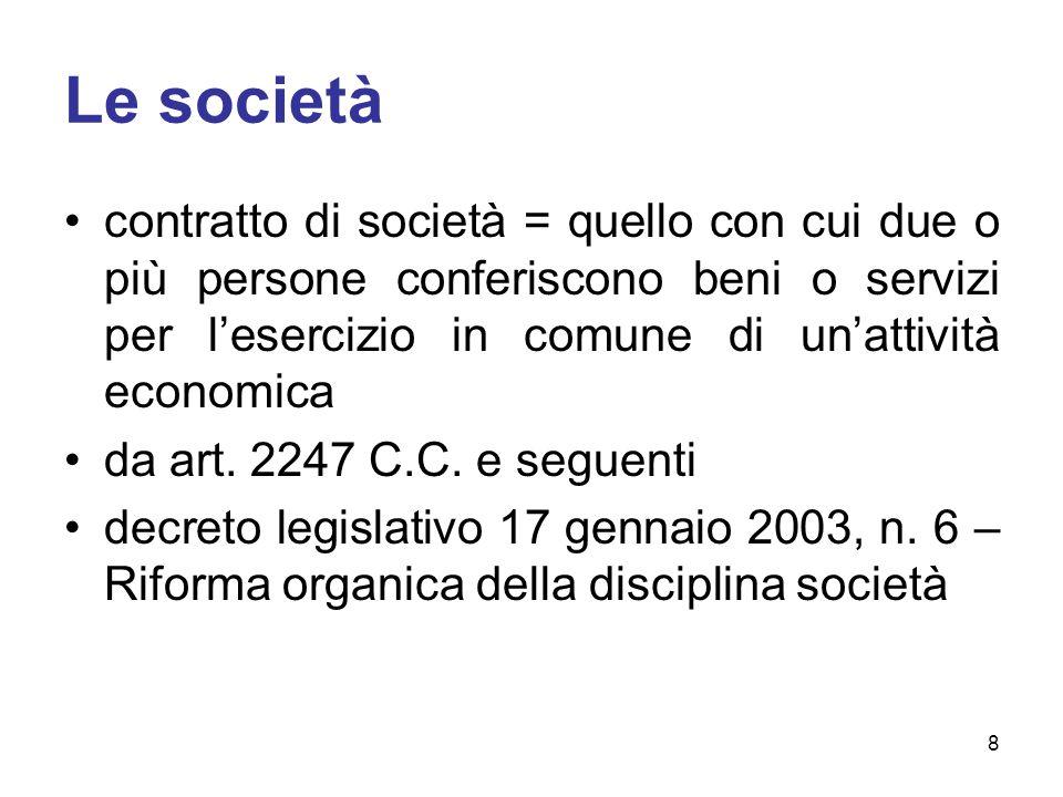 Le società contratto di società = quello con cui due o più persone conferiscono beni o servizi per l'esercizio in comune di un'attività economica da art.