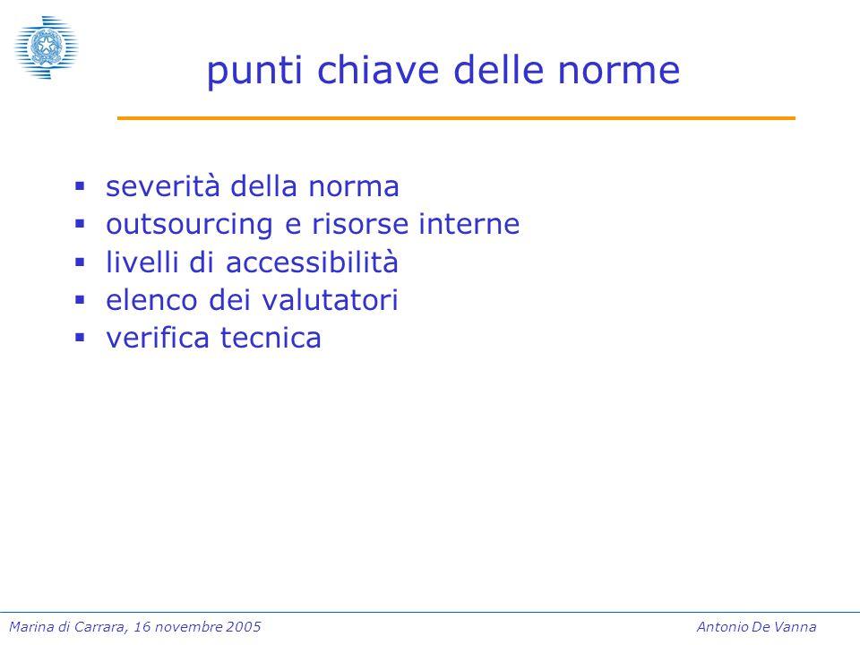 Marina di Carrara, 16 novembre 2005Antonio De Vanna punti chiave delle norme  severità della norma  outsourcing e risorse interne  livelli di accessibilità  elenco dei valutatori  verifica tecnica