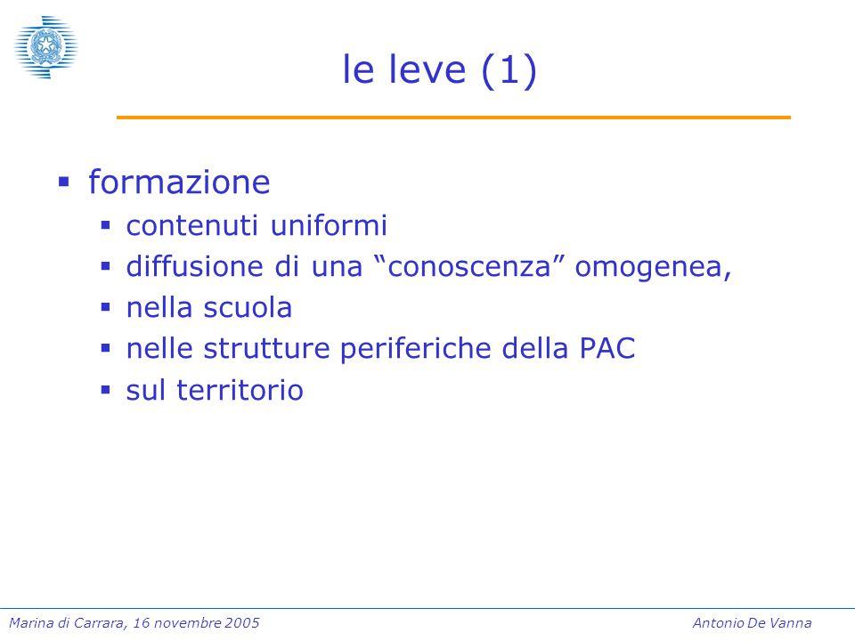 Marina di Carrara, 16 novembre 2005Antonio De Vanna le leve (1)  formazione  contenuti uniformi  diffusione di una conoscenza omogenea,  nella scuola  nelle strutture periferiche della PAC  sul territorio