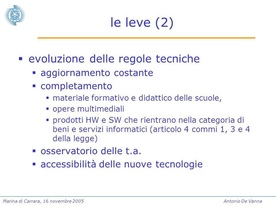 Marina di Carrara, 16 novembre 2005Antonio De Vanna le leve (2)  evoluzione delle regole tecniche  aggiornamento costante  completamento  material