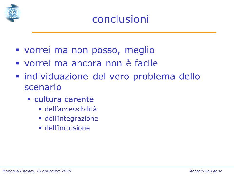 Marina di Carrara, 16 novembre 2005Antonio De Vanna conclusioni  vorrei ma non posso, meglio  vorrei ma ancora non è facile  individuazione del ver