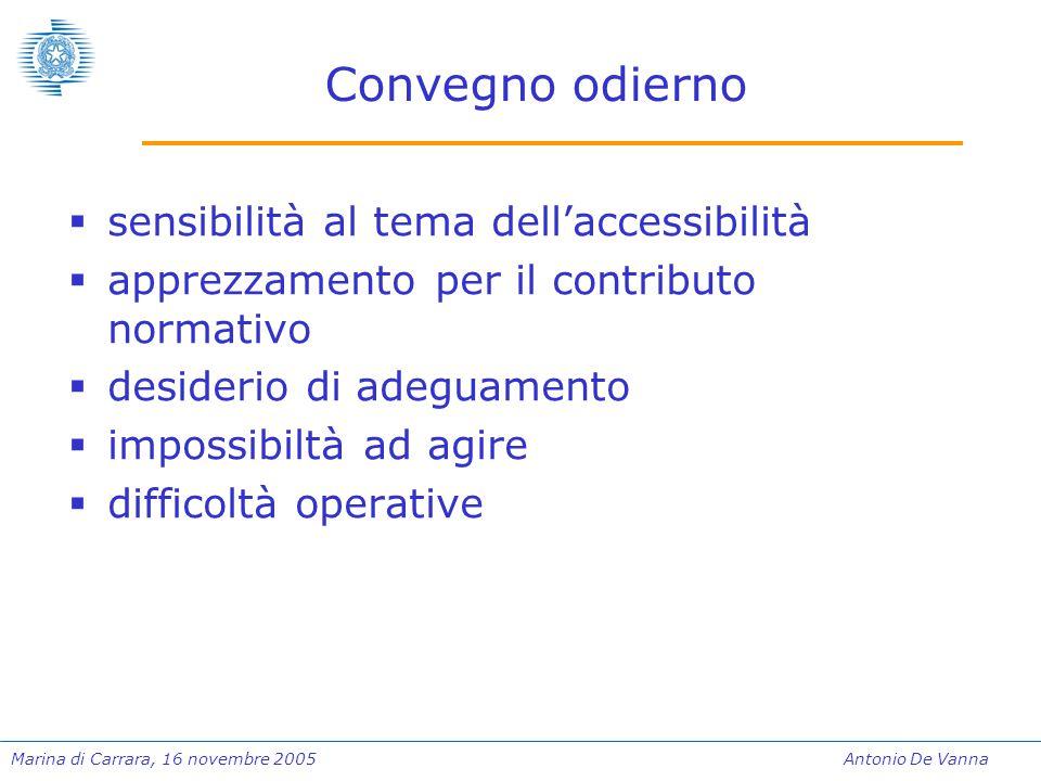 Marina di Carrara, 16 novembre 2005Antonio De Vanna Convegno odierno  sensibilità al tema dell'accessibilità  apprezzamento per il contributo normativo  desiderio di adeguamento  impossibiltà ad agire  difficoltà operative