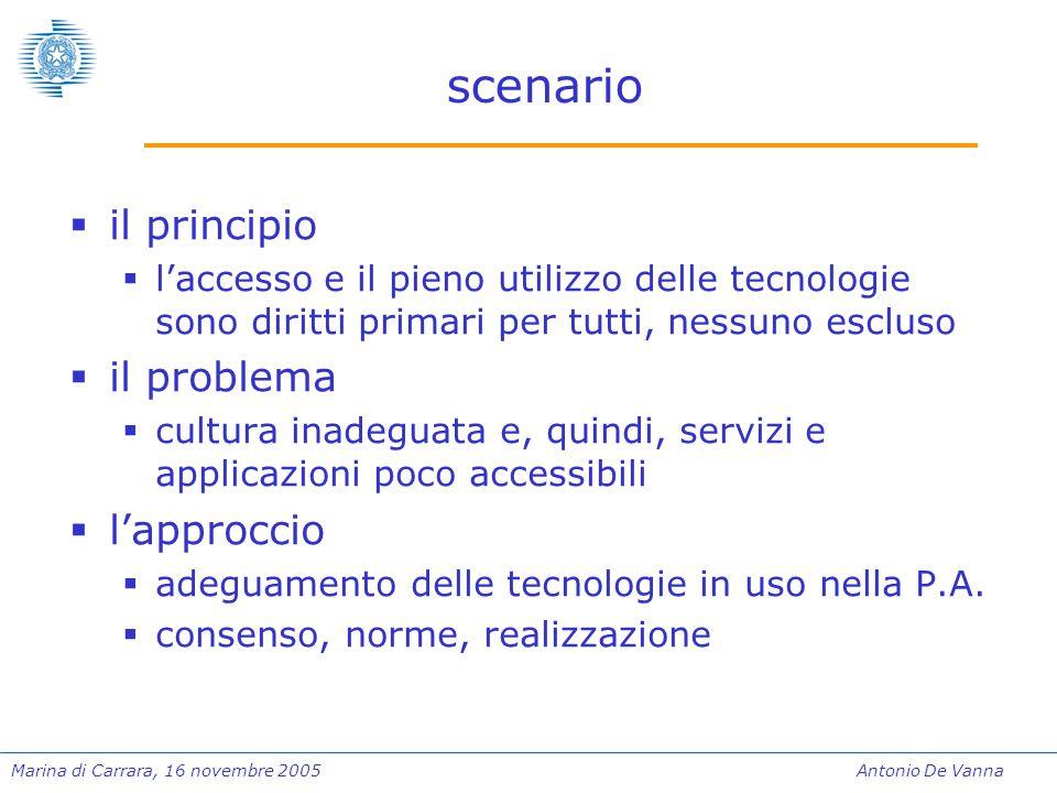 Marina di Carrara, 16 novembre 2005Antonio De Vanna scenario  il principio  l'accesso e il pieno utilizzo delle tecnologie sono diritti primari per