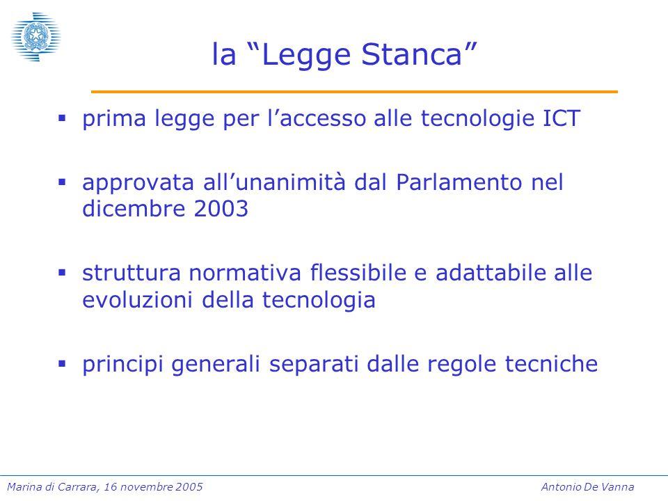 """Marina di Carrara, 16 novembre 2005Antonio De Vanna la """"Legge Stanca""""  prima legge per l'accesso alle tecnologie ICT  approvata all'unanimità dal Pa"""