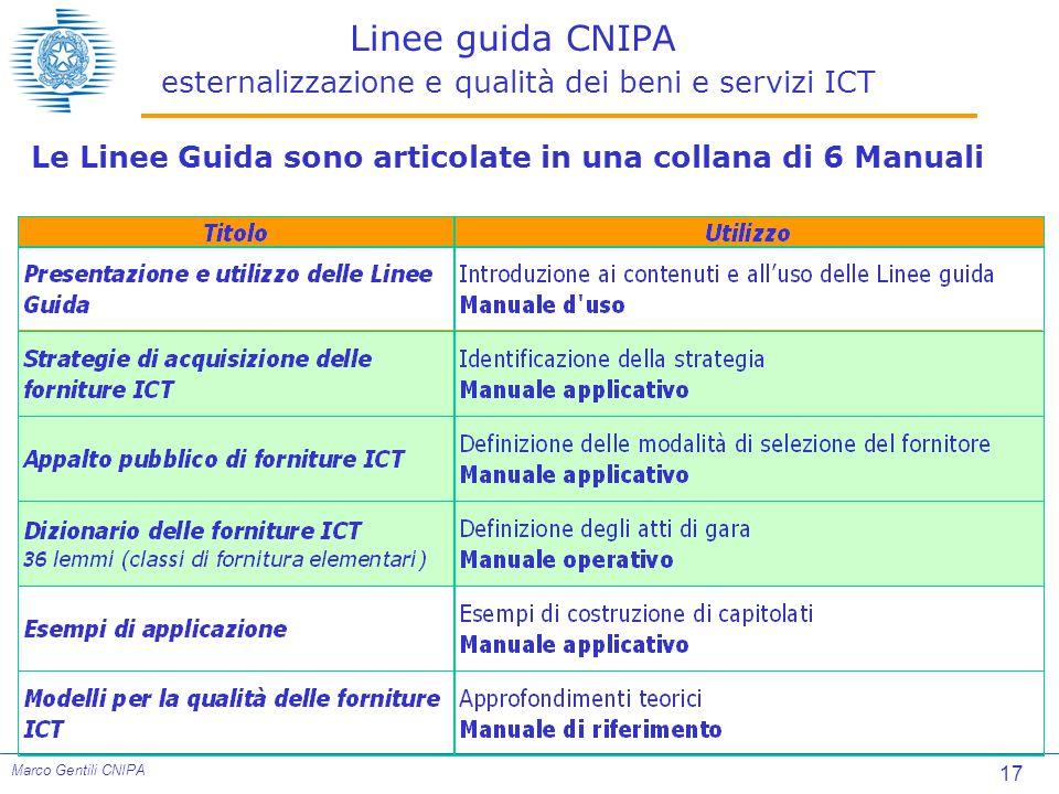 17 Marco Gentili CNIPA Linee guida CNIPA esternalizzazione e qualità dei beni e servizi ICT Le Linee Guida sono articolate in una collana di 6 Manuali