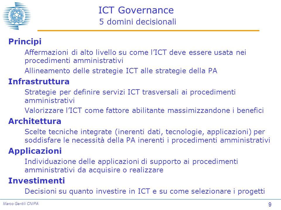 9 Marco Gentili CNIPA ICT Governance 5 domini decisionali Principi Affermazioni di alto livello su come l'ICT deve essere usata nei procedimenti amministrativi Allineamento delle strategie ICT alle strategie della PA Infrastruttura Strategie per definire servizi ICT trasversali ai procedimenti amministrativi Valorizzare l'ICT come fattore abilitante massimizzandone i benefici Architettura Scelte tecniche integrate (inerenti dati, tecnologie, applicazioni) per soddisfare le necessità della PA inerenti i procedimenti amministrativi Applicazioni Individuazione delle applicazioni di supporto ai procedimenti amministrativi da acquisire o realizzare Investimenti Decisioni su quanto investire in ICT e su come selezionare i progetti