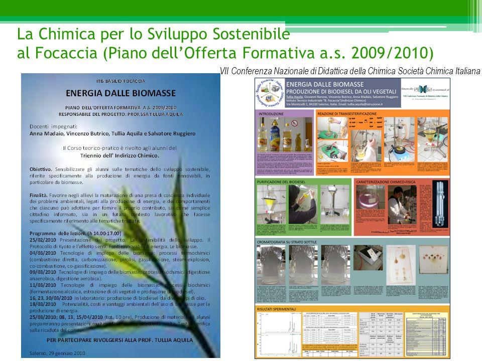 La Chimica per lo Sviluppo Sostenibile al Focaccia (Piano dell'Offerta Formativa a.s. 2009/2010) VII Conferenza Nazionale di Didattica della Chimica S