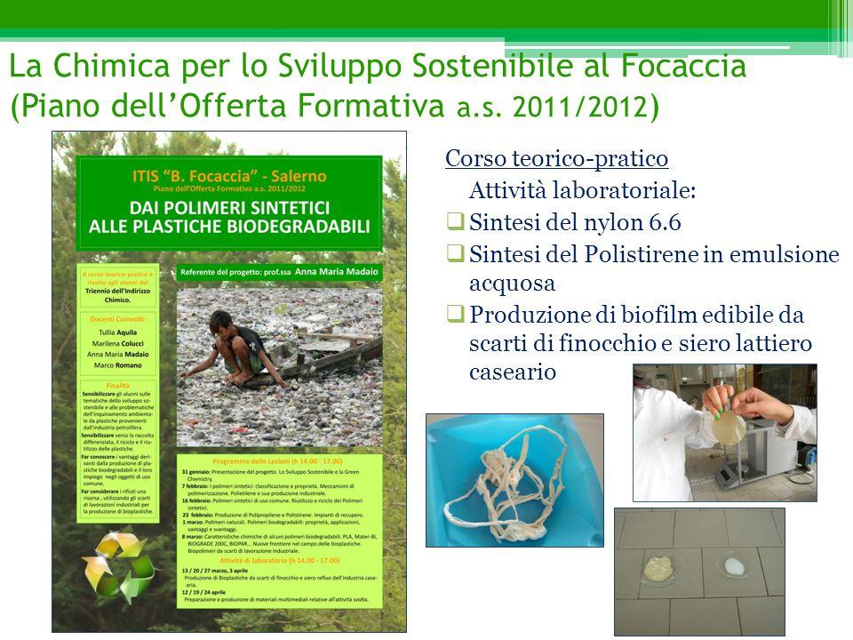 La Chimica per lo Sviluppo Sostenibile al Focaccia (Piano dell'Offerta Formativa a.s. 2011/2012 ) Corso teorico-pratico Attività laboratoriale:  Sint