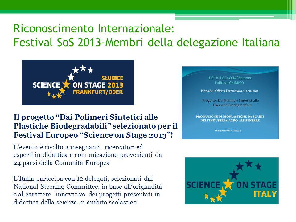 Riconoscimento Internazionale: Festival SoS 2013-Membri della delegazione Italiana L'evento è rivolto a insegnanti, ricercatori ed esperti in didattic