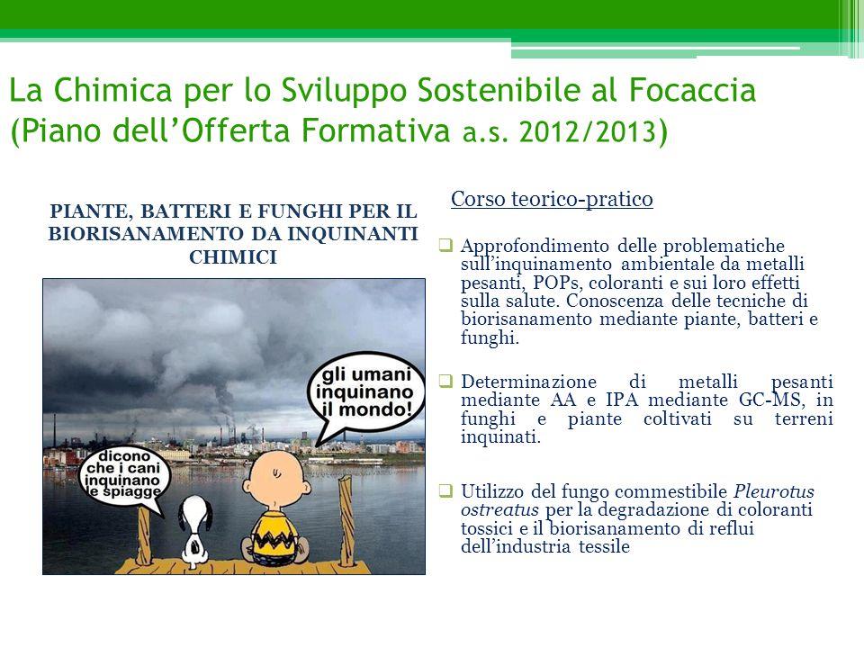 La Chimica per lo Sviluppo Sostenibile al Focaccia (Piano dell'Offerta Formativa a.s. 2012/2013 )  Approfondimento delle problematiche sull'inquiname