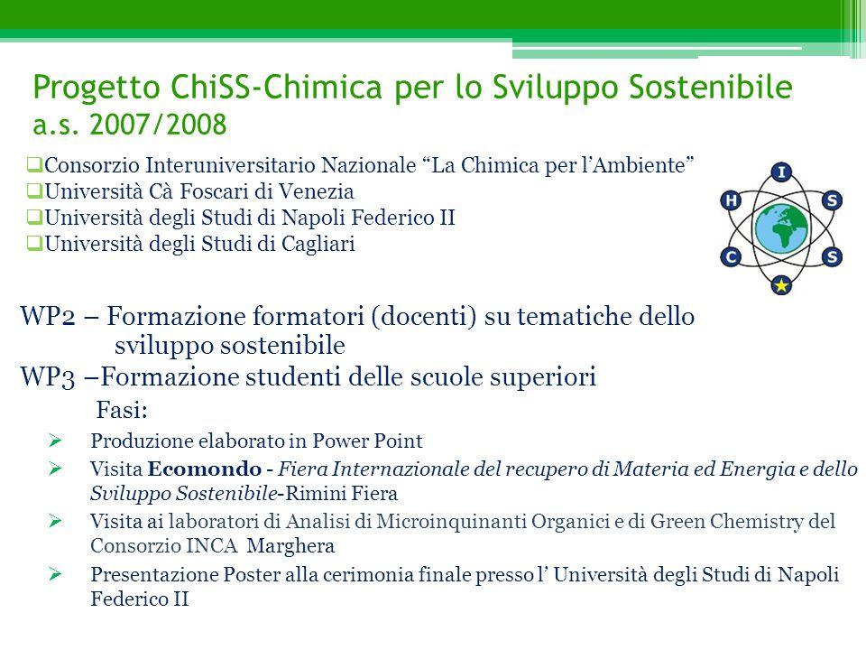Progetto ChiSS-Chimica per lo Sviluppo Sostenibile a.s. 2007/2008 WP2 – Formazione formatori (docenti) su tematiche dello sviluppo sostenibile WP3 –Fo
