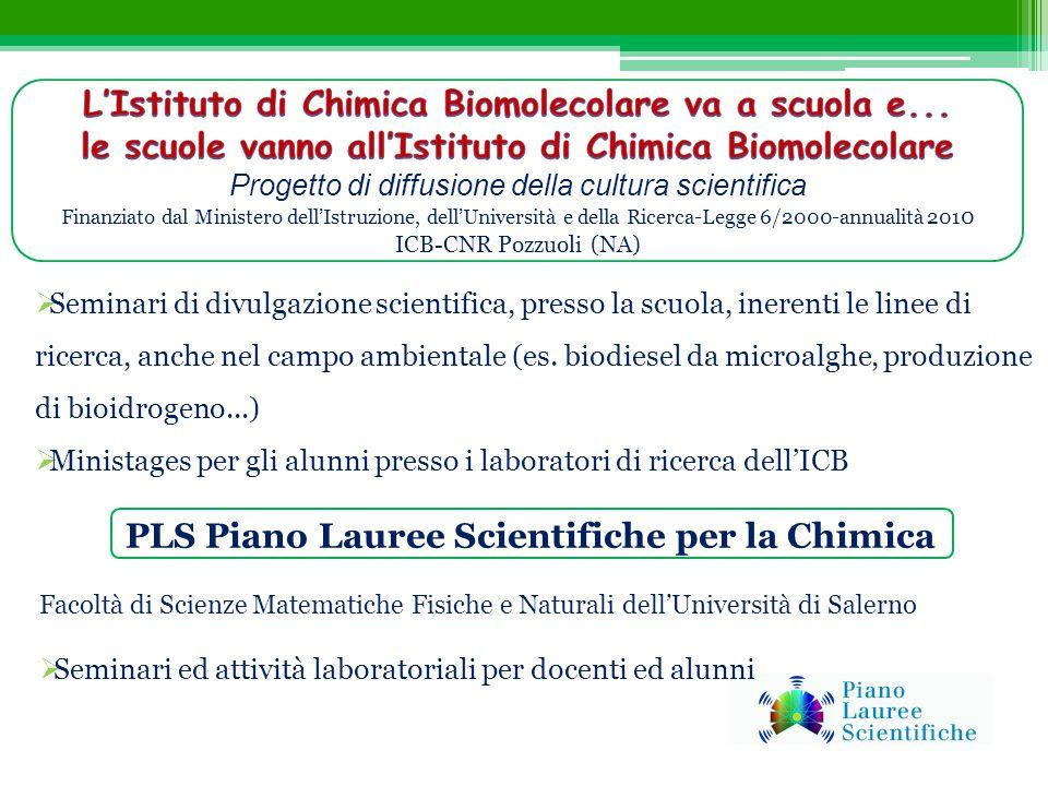 PLS Piano Lauree Scientifiche per la Chimica Facoltà di Scienze Matematiche Fisiche e Naturali dell'Università di Salerno  Seminari ed attività labor