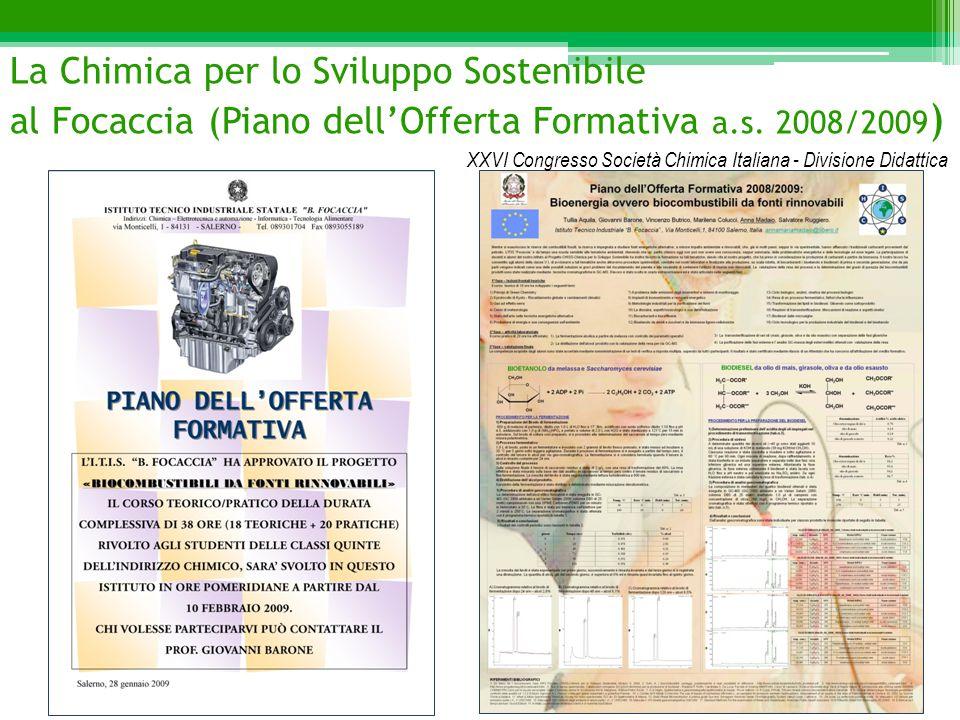 La Chimica per lo Sviluppo Sostenibile al Focaccia (Piano dell'Offerta Formativa a.s. 2008/2009 ) XXVI Congresso Società Chimica Italiana - Divisione