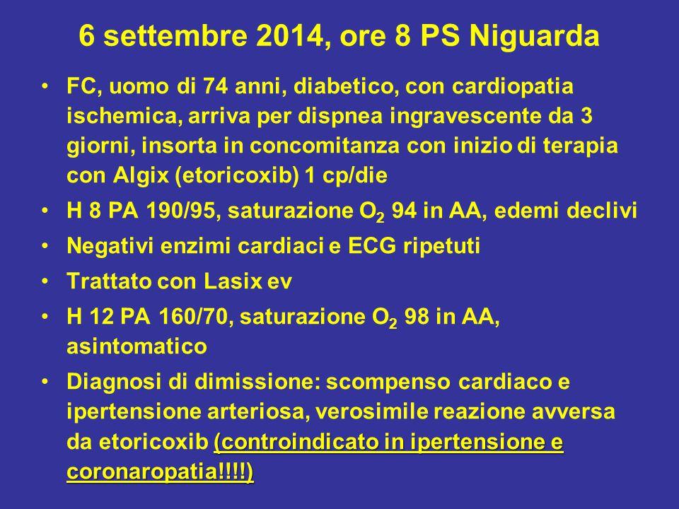 6 settembre 2014, ore 8 PS Niguarda FC, uomo di 74 anni, diabetico, con cardiopatia ischemica, arriva per dispnea ingravescente da 3 giorni, insorta in concomitanza con inizio di terapia con Algix (etoricoxib) 1 cp/die H 8 PA 190/95, saturazione O 2 94 in AA, edemi declivi Negativi enzimi cardiaci e ECG ripetuti Trattato con Lasix ev H 12 PA 160/70, saturazione O 2 98 in AA, asintomatico (controindicato in ipertensione e coronaropatia!!!!)Diagnosi di dimissione: scompenso cardiaco e ipertensione arteriosa, verosimile reazione avversa da etoricoxib (controindicato in ipertensione e coronaropatia!!!!)