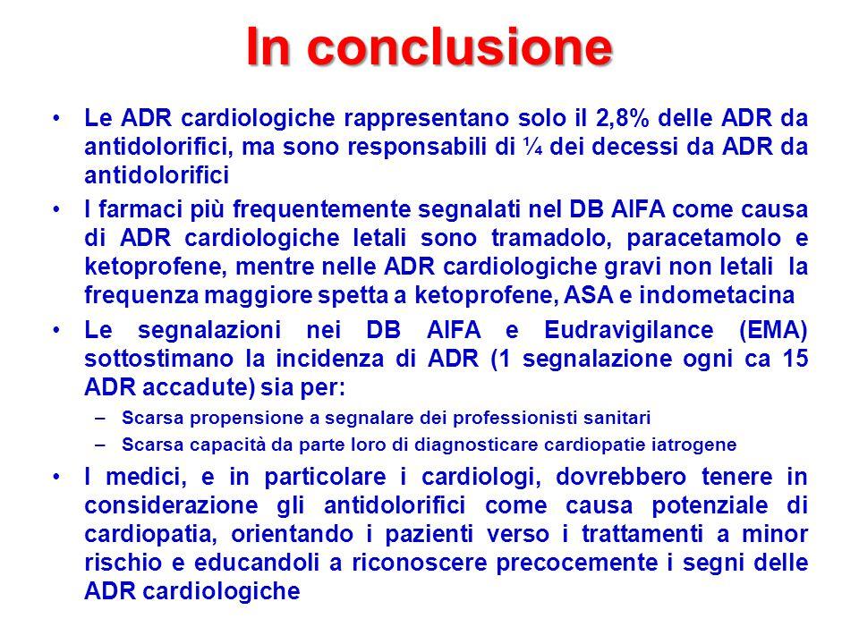In conclusione Le ADR cardiologiche rappresentano solo il 2,8% delle ADR da antidolorifici, ma sono responsabili di ¼ dei decessi da ADR da antidolorifici I farmaci più frequentemente segnalati nel DB AIFA come causa di ADR cardiologiche letali sono tramadolo, paracetamolo e ketoprofene, mentre nelle ADR cardiologiche gravi non letali la frequenza maggiore spetta a ketoprofene, ASA e indometacina Le segnalazioni nei DB AIFA e Eudravigilance (EMA) sottostimano la incidenza di ADR (1 segnalazione ogni ca 15 ADR accadute) sia per: –Scarsa propensione a segnalare dei professionisti sanitari –Scarsa capacità da parte loro di diagnosticare cardiopatie iatrogene I medici, e in particolare i cardiologi, dovrebbero tenere in considerazione gli antidolorifici come causa potenziale di cardiopatia, orientando i pazienti verso i trattamenti a minor rischio e educandoli a riconoscere precocemente i segni delle ADR cardiologiche