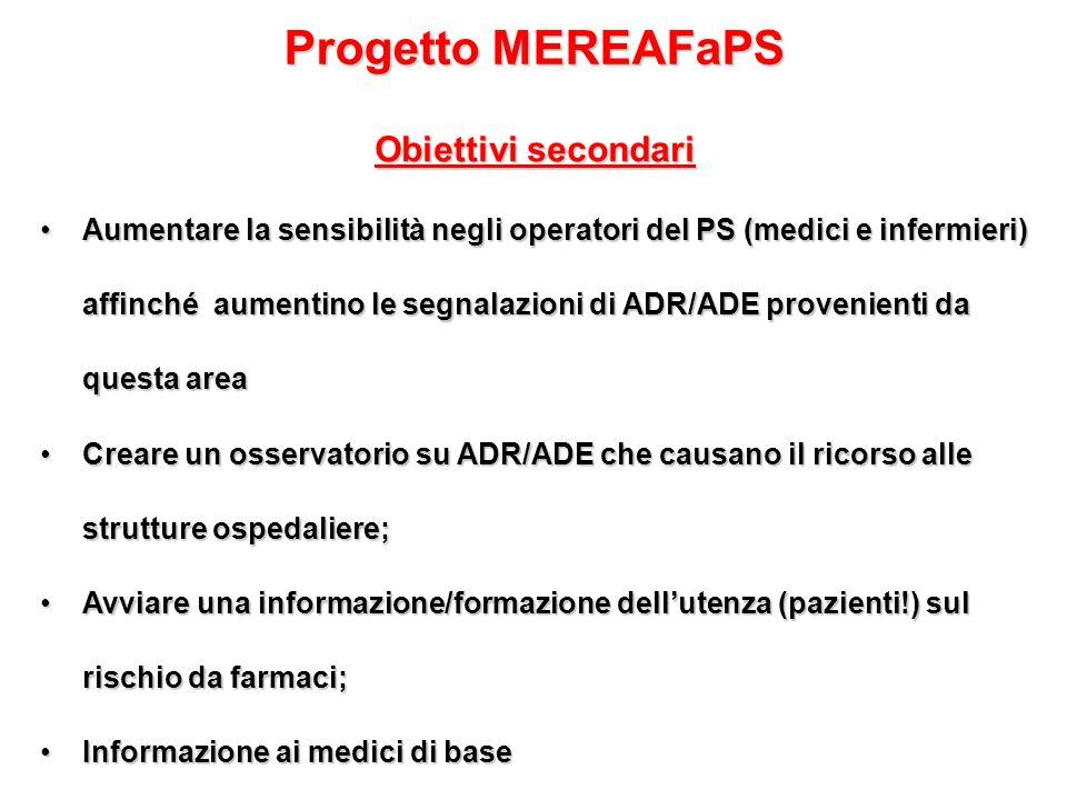 Progetto MEREAFaPS Obiettivi secondari Aumentare la sensibilità negli operatori del PS (medici e infermieri) affinché aumentino le segnalazioni di ADR/ADE provenienti da questa areaAumentare la sensibilità negli operatori del PS (medici e infermieri) affinché aumentino le segnalazioni di ADR/ADE provenienti da questa area Creare un osservatorio su ADR/ADE che causano il ricorso alle strutture ospedaliere;Creare un osservatorio su ADR/ADE che causano il ricorso alle strutture ospedaliere; Avviare una informazione/formazione dell'utenza (pazienti!) sul rischio da farmaci;Avviare una informazione/formazione dell'utenza (pazienti!) sul rischio da farmaci; Informazione ai medici di baseInformazione ai medici di base