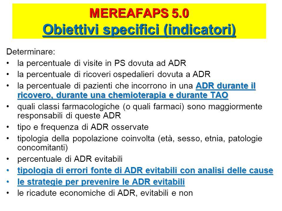 MEREAFAPS 5.0 Obiettivi specifici (indicatori) Determinare: la percentuale di visite in PS dovuta ad ADR la percentuale di ricoveri ospedalieri dovuta a ADR ADR durante il ricovero, durante una chemioterapia e durante TAOla percentuale di pazienti che incorrono in una ADR durante il ricovero, durante una chemioterapia e durante TAO quali classi farmacologiche (o quali farmaci) sono maggiormente responsabili di queste ADR tipo e frequenza di ADR osservate tipologia della popolazione coinvolta (età, sesso, etnia, patologie concomitanti) percentuale di ADR evitabili tipologia di errori fonte di ADR evitabili con analisi delle causetipologia di errori fonte di ADR evitabili con analisi delle cause le strategie per prevenire le ADR evitabilile strategie per prevenire le ADR evitabili le ricadute economiche di ADR, evitabili e non