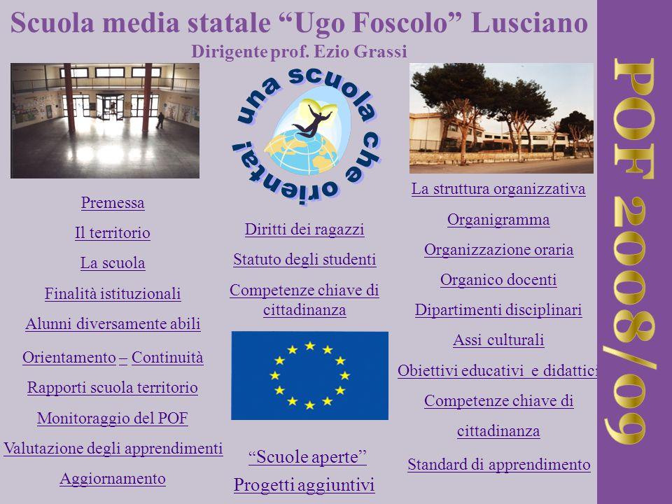 Strutture della scuola Denominazione : Scuola Media Statale Ugo Foscolo Indirizzo:Via della Resistenza n°20 – 81030 Lusciano Telefono / fax : 081 – 8148563 Codice istituto/mail :CEMM056004 / @ istruzione.