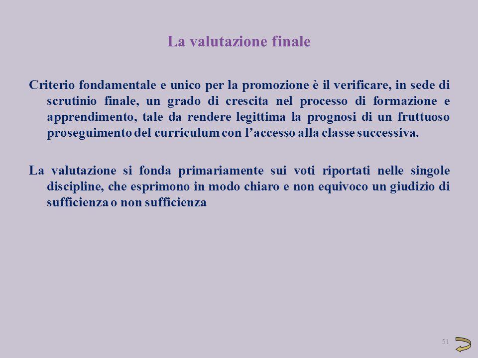 La valutazione finale Criterio fondamentale e unico per la promozione è il verificare, in sede di scrutinio finale, un grado di crescita nel processo