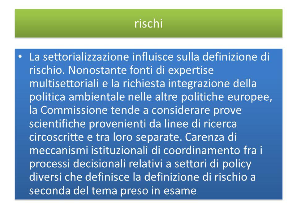 rischi La settorializzazione influisce sulla definizione di rischio.