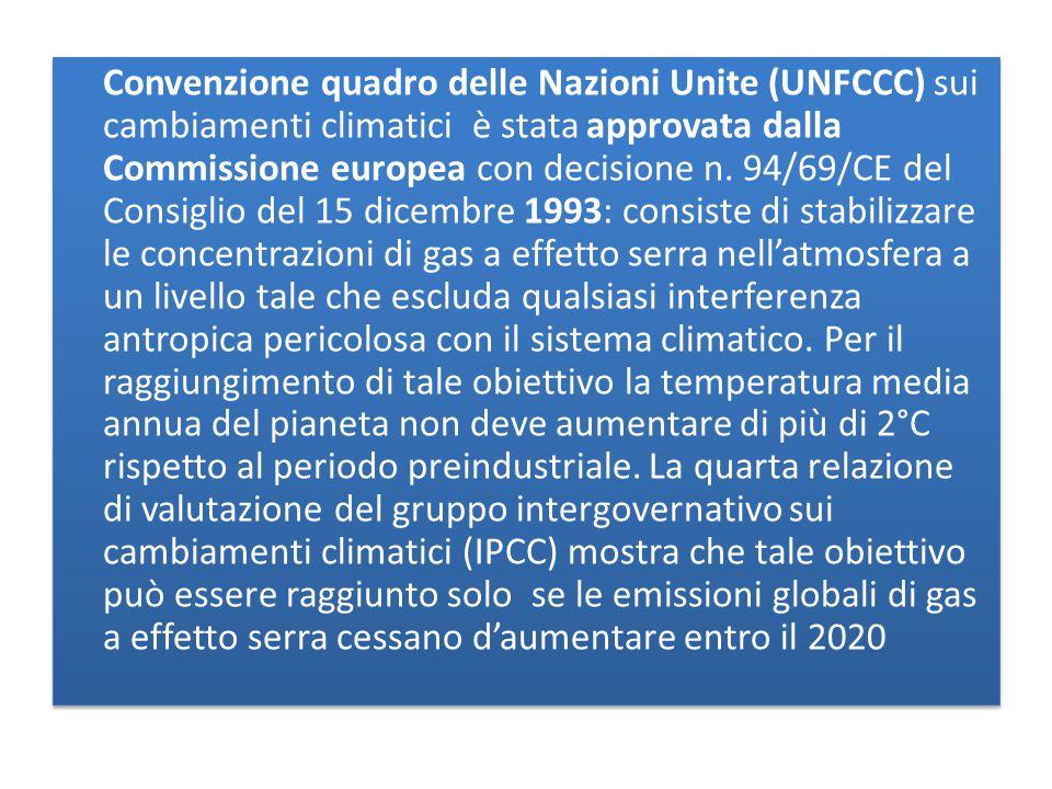 Convenzione quadro delle Nazioni Unite (UNFCCC) sui cambiamenti climatici è stata approvata dalla Commissione europea con decisione n.