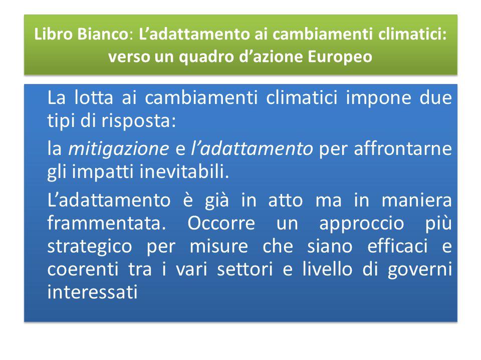 Libro Bianco: L'adattamento ai cambiamenti climatici: verso un quadro d'azione Europeo La lotta ai cambiamenti climatici impone due tipi di risposta: la mitigazione e l'adattamento per affrontarne gli impatti inevitabili.